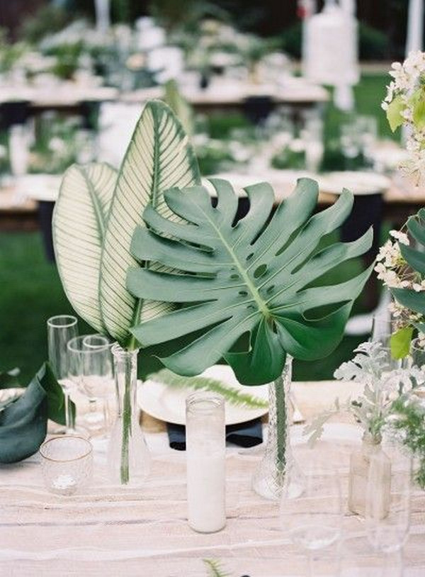 white and tropical greenery wedding centerpiece ideas
