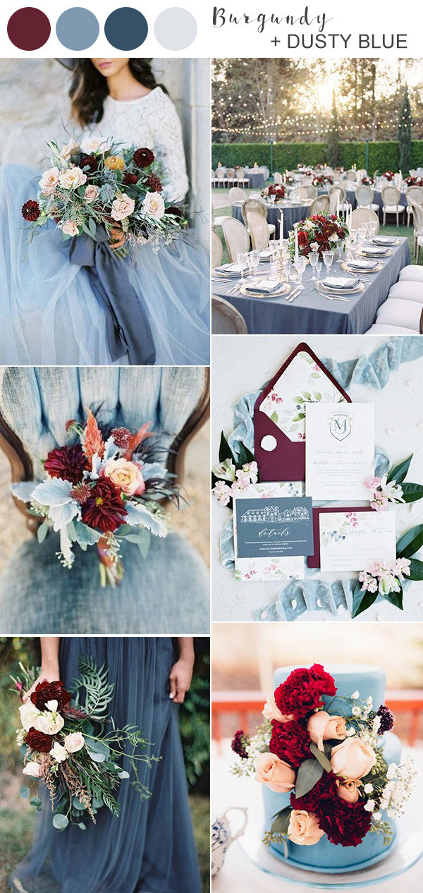 burgundy and dusty blue wedding color ideas 2020