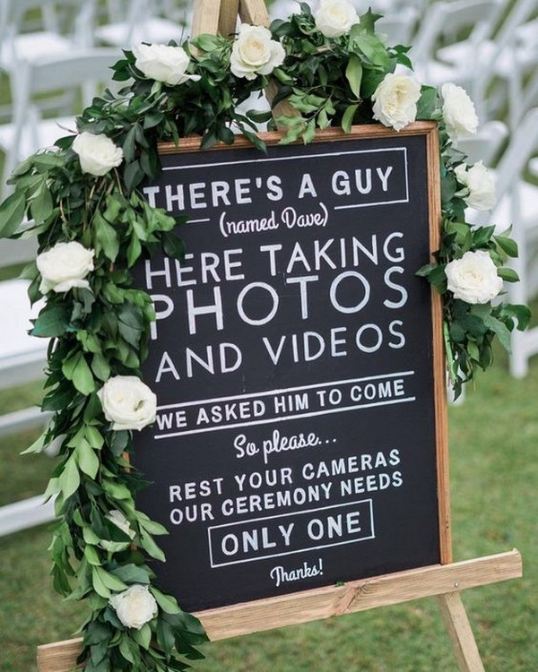 chalkboard unplugged wedding sign