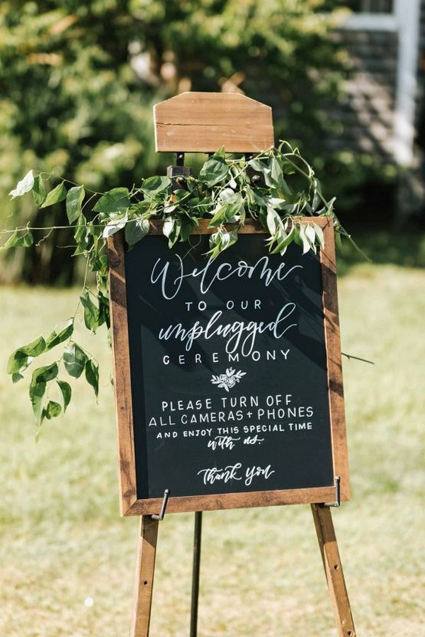 chic chalkboard unplugged wedding sign