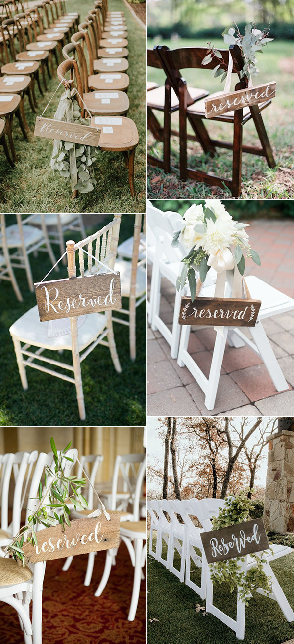 chic rustic reserved wedding ceremony signs