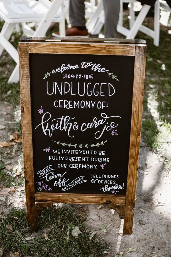 chic vintage chalkboard unplugged wedding sign