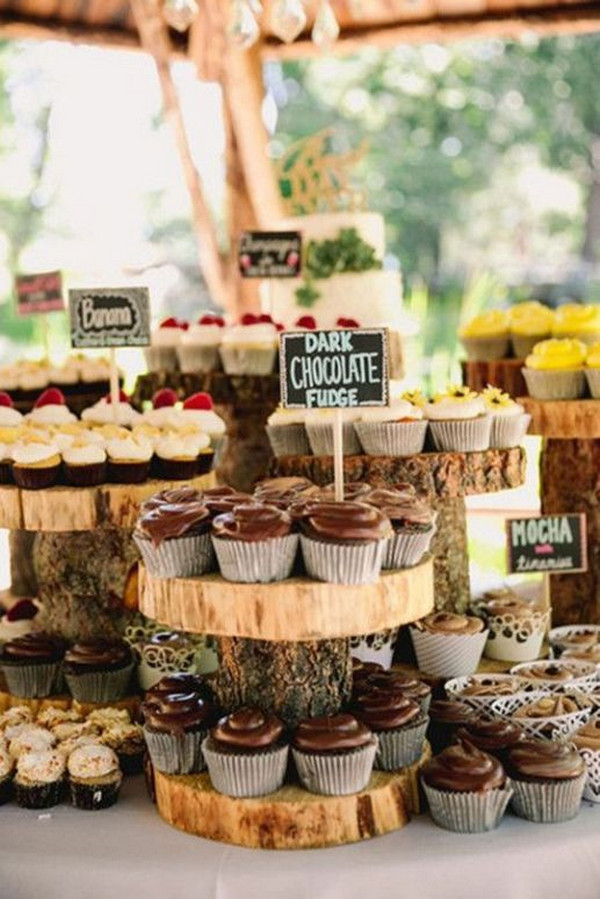 country rustic wedding dessert display ideas