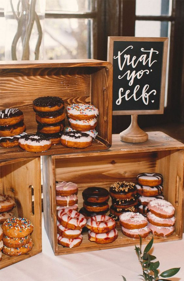 country wedding dessert display ideas with donuts