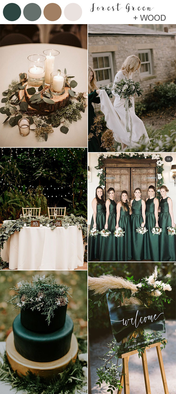 forest green and wood rustic wedding colors