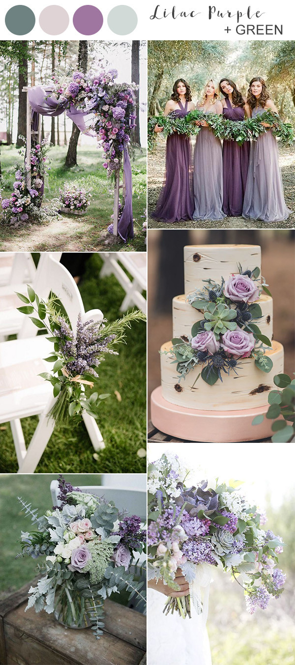 lilac purple and greenery wedding color ideas