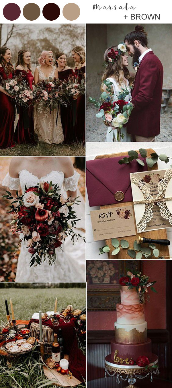 marsala and brown fall wedding color ideas