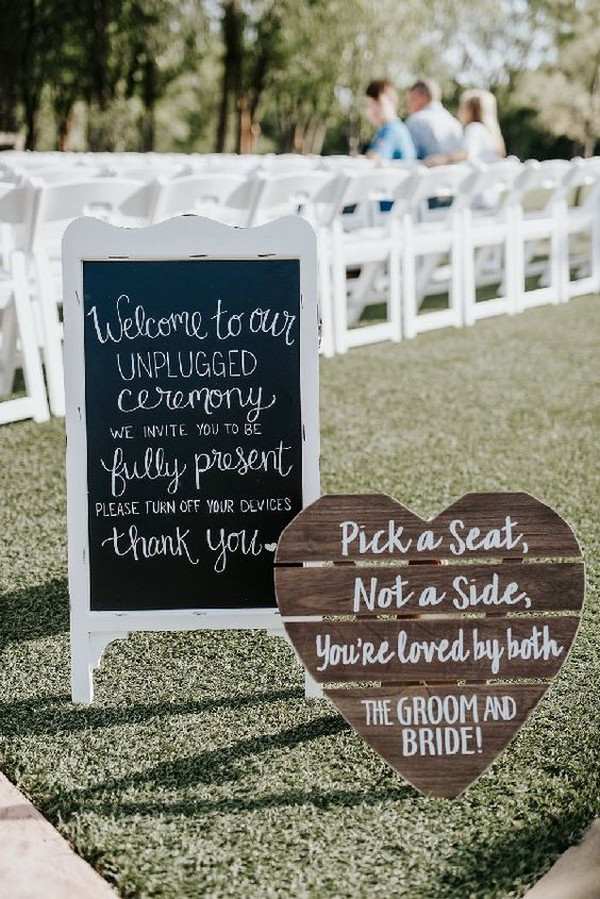 outdoor chalkboard unplugged wedding ceremony sign