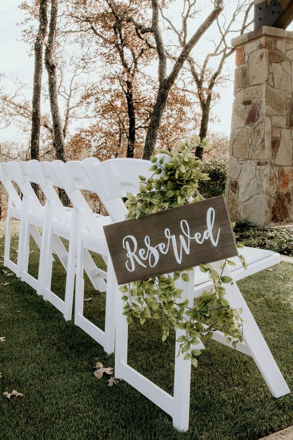 outdoor wedding ceremony reserved seating sign