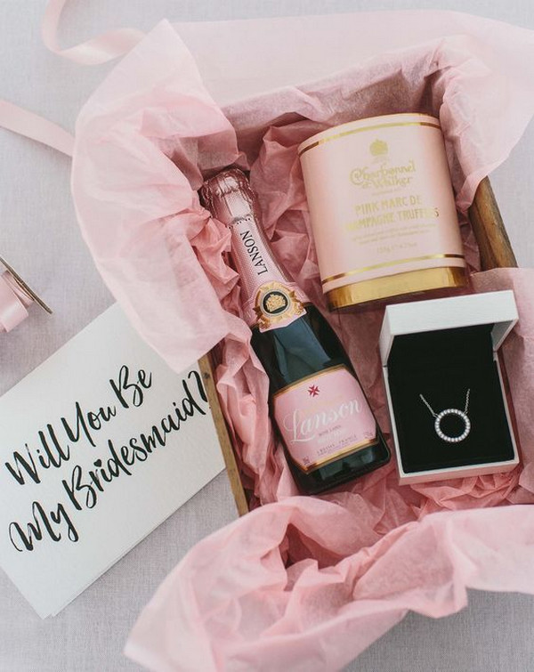pink themed bridesmaid proposal gift ideas