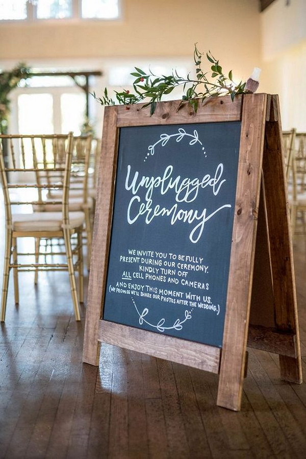 rustic chalkboard unplugged wedding ceremony sign ideas