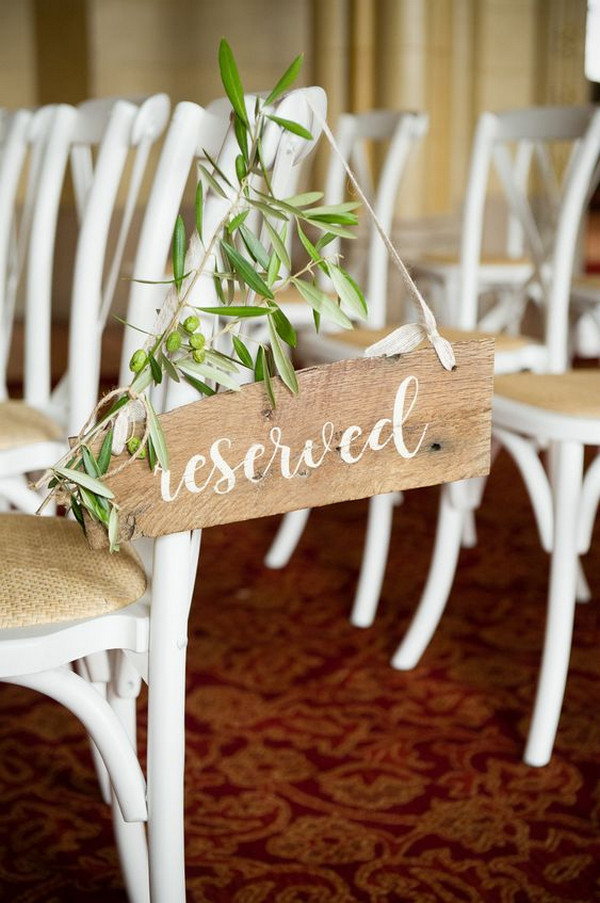 rustic chic reserved wedding ceremony sign