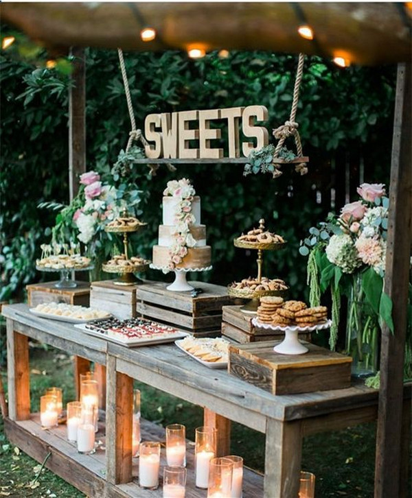 rustic outdoor wedding dessert bar