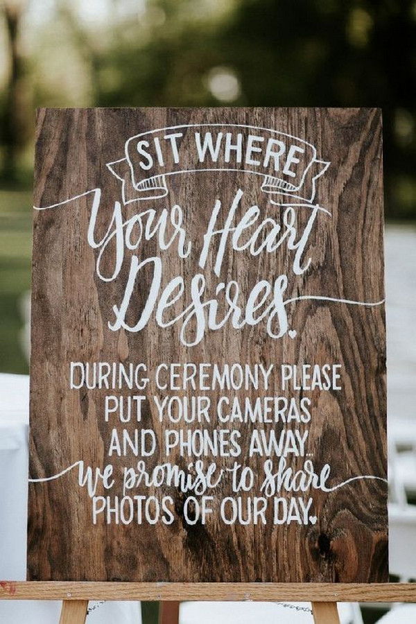rustic unplugged wedding sign