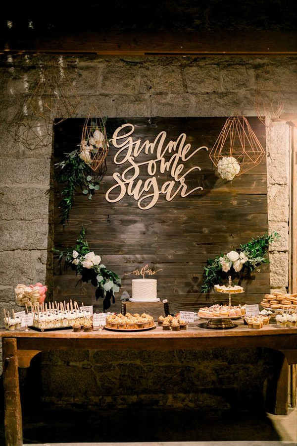 rustic wedding dessert bar decoration ideas