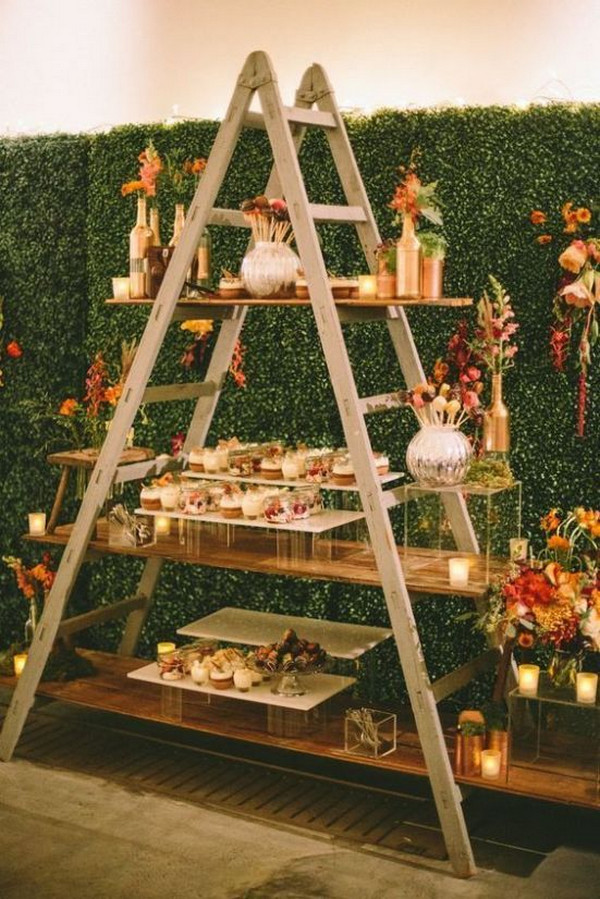 rustic wedding dessert display ideas with vintage ladder