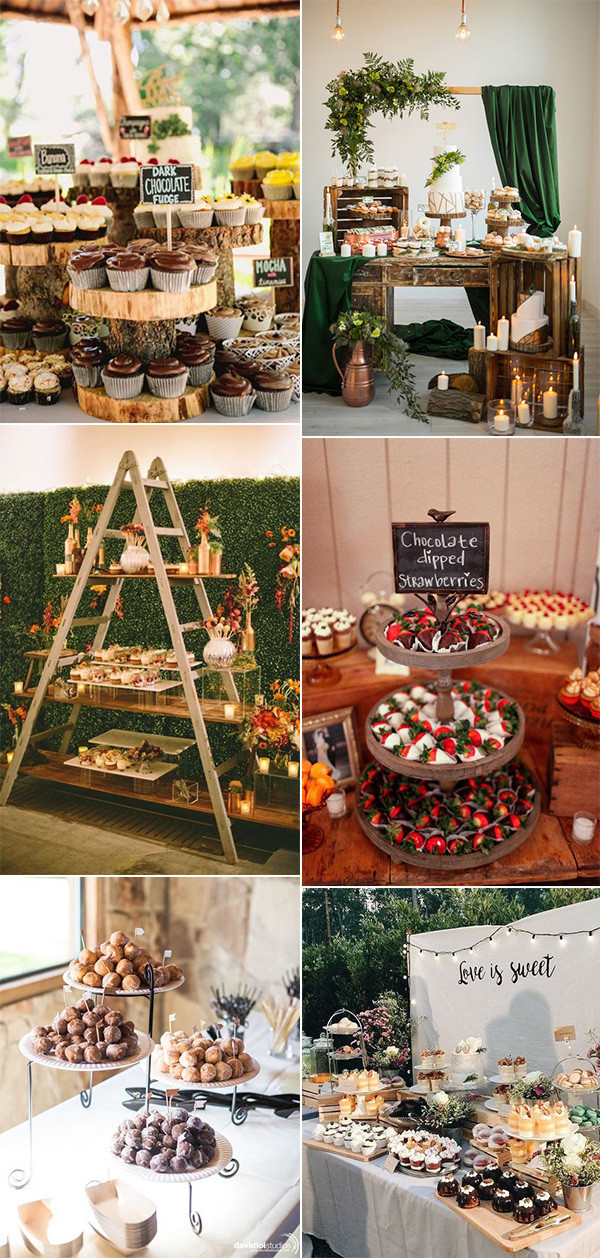 rustic wedding dessert table display ideas