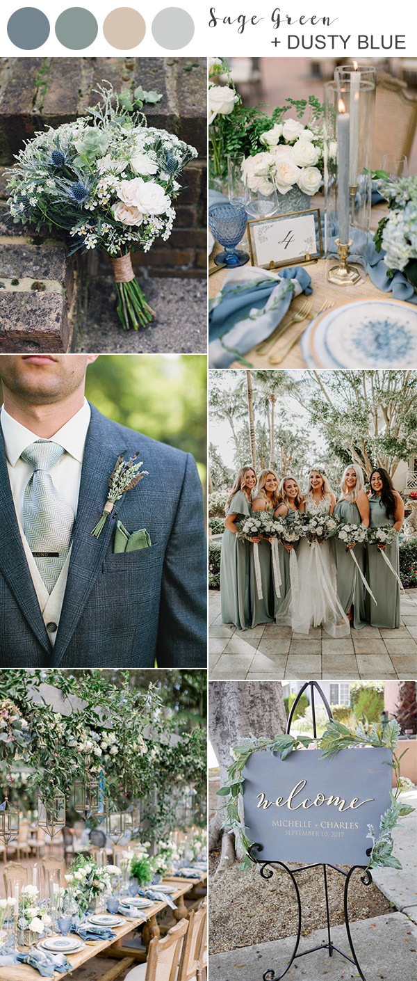 sage green and dusty blue wedding color ideas for 2020