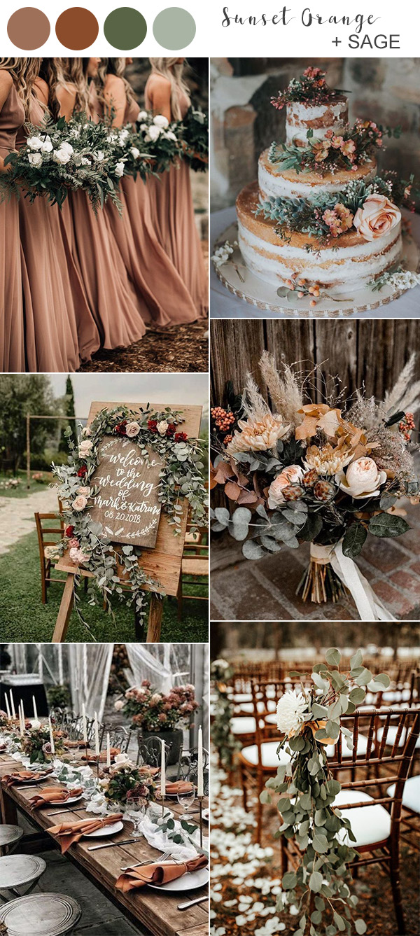 sunset orange and sage fall wedding color ideas 2020