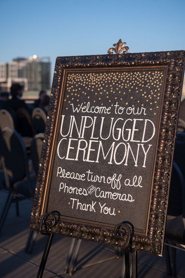 vintage framed unplugged wedding sign
