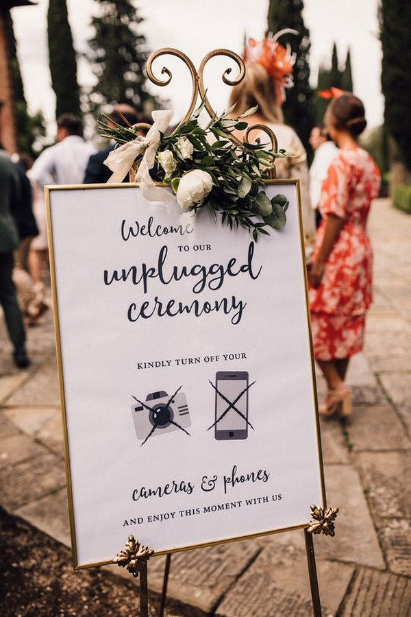 vintage unplugged wedding ceremony sign