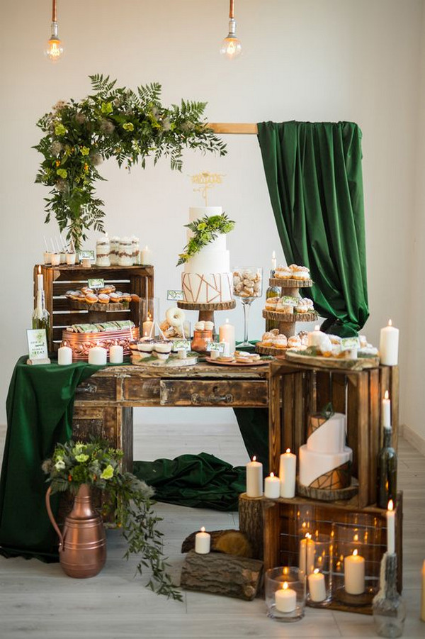 woodland rustic wedding dessert bar ideas