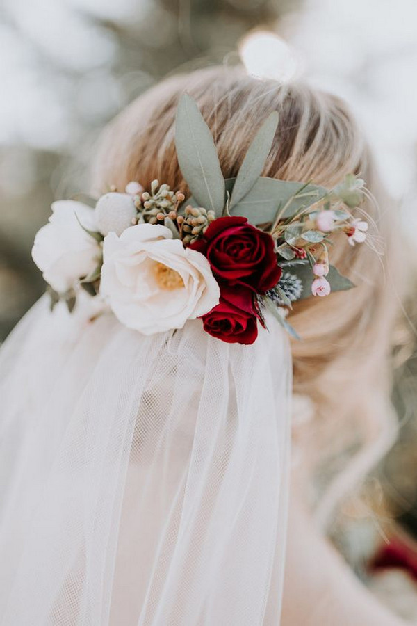 Burgundy Hair flowers with veil
