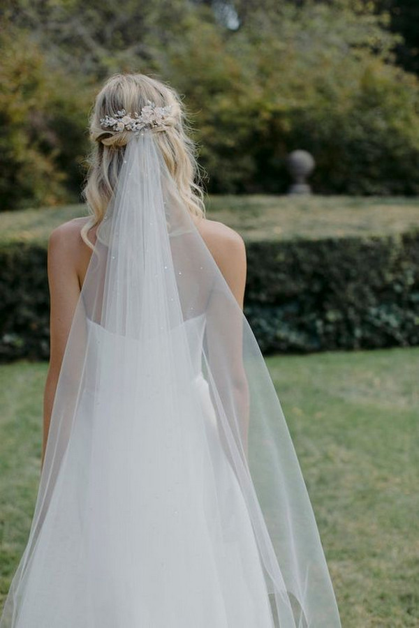 classic wedding hairstyle for medium hair with veil
