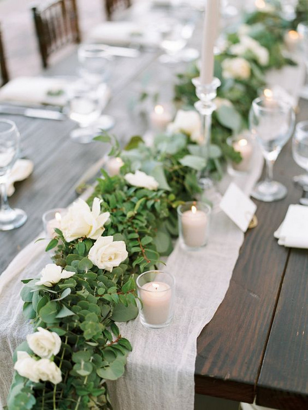 elegant white and greenery wedding table setting ideas