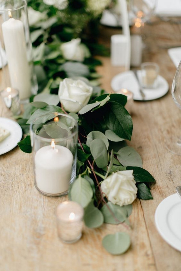 simple chic white and green wedding centerpiece garland