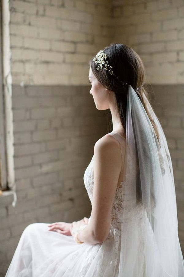 trending wedding hairstyle with veil
