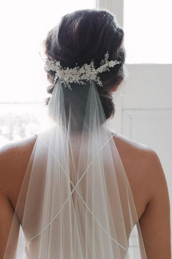 updo wedding hairstyle with veil
