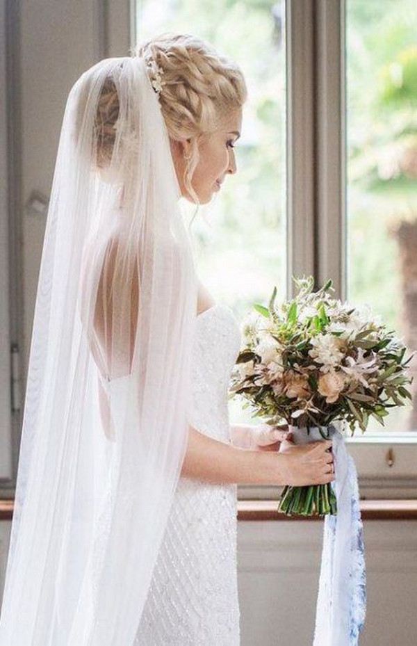updo wedding hairstyle with veils