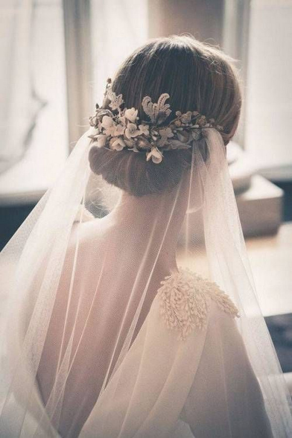 vintage updo wedding hairstyle with long veil