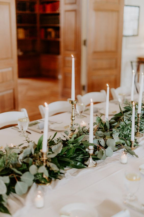 vintage wedding centerpiece ideas with greenery and candles