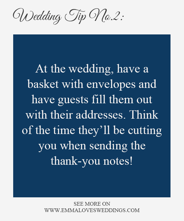 wedding planning tips and tricks 2-thank you note envelopes
