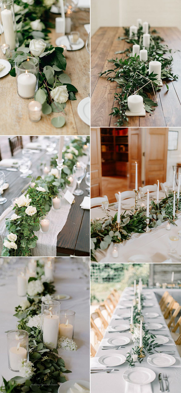 white and green wedding centerpiece ideas for long tables