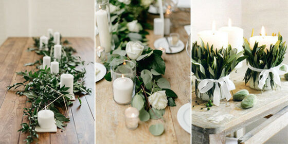 white and green wedding centerpieces