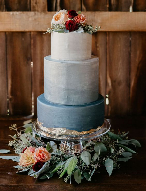 dusty blue and burgundy wedding cake ideas