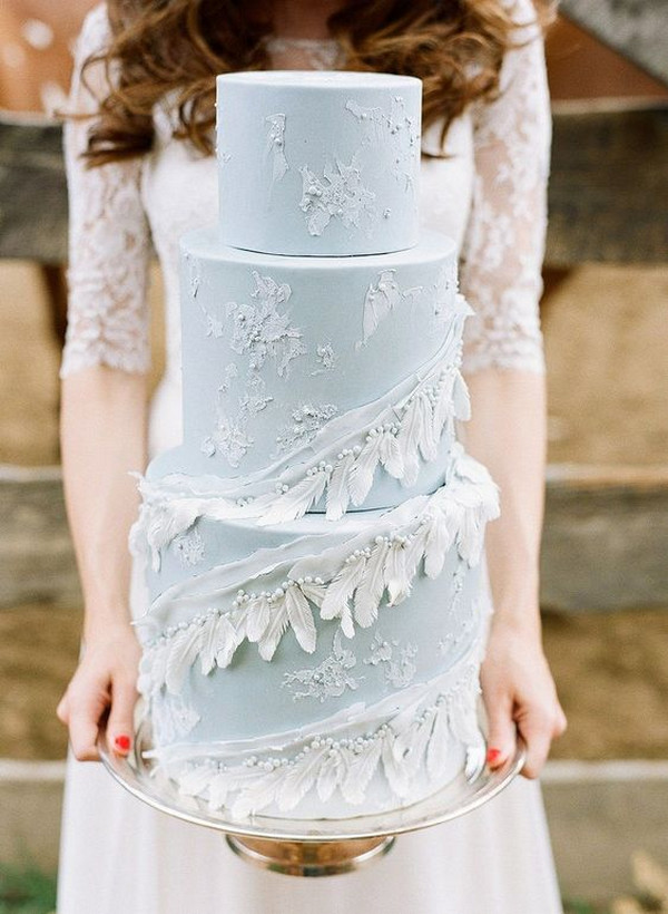 elegant ice blue wedding cake ideas