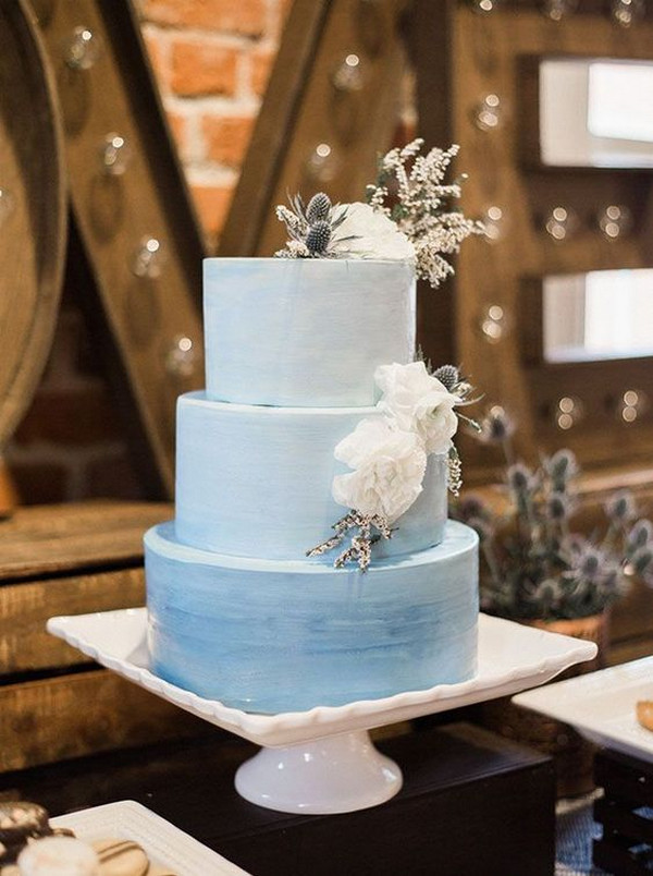 elegant ombre blue wedding cake