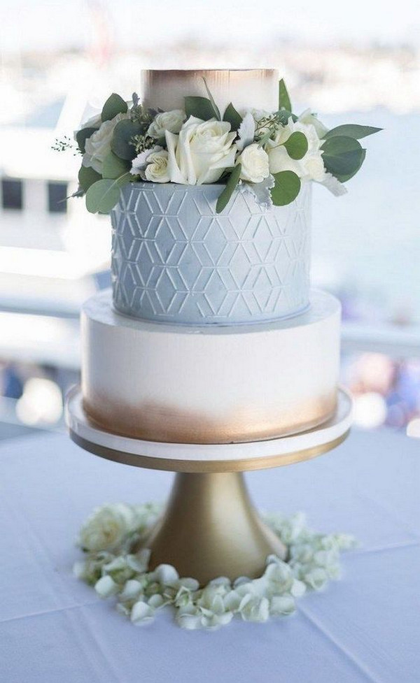 light blue and metallic gold wedding cake