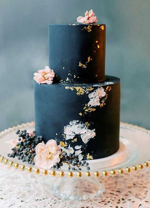 navy blue and blush wedding cake ideas