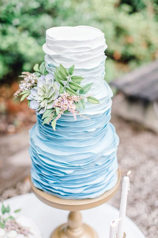 ruffled ombre blue wedding cake ideas