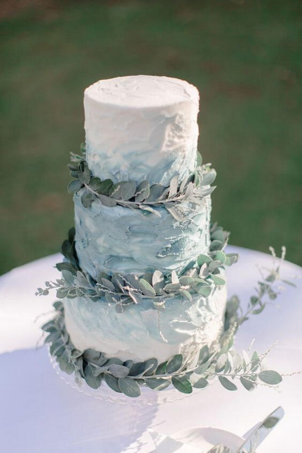 shades of blue and green wedding cake