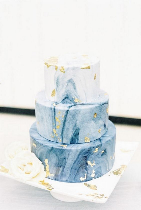 shades of blue and metallic gold wedding cake