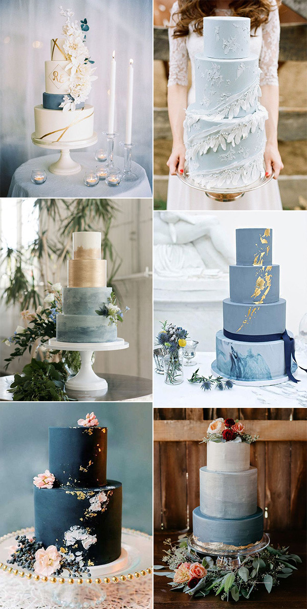trending shades of blue wedding cakes for 2020