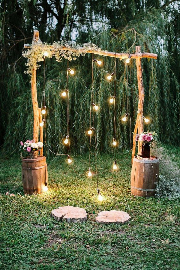 budget friendly wedding arch decoration ideas with string lights
