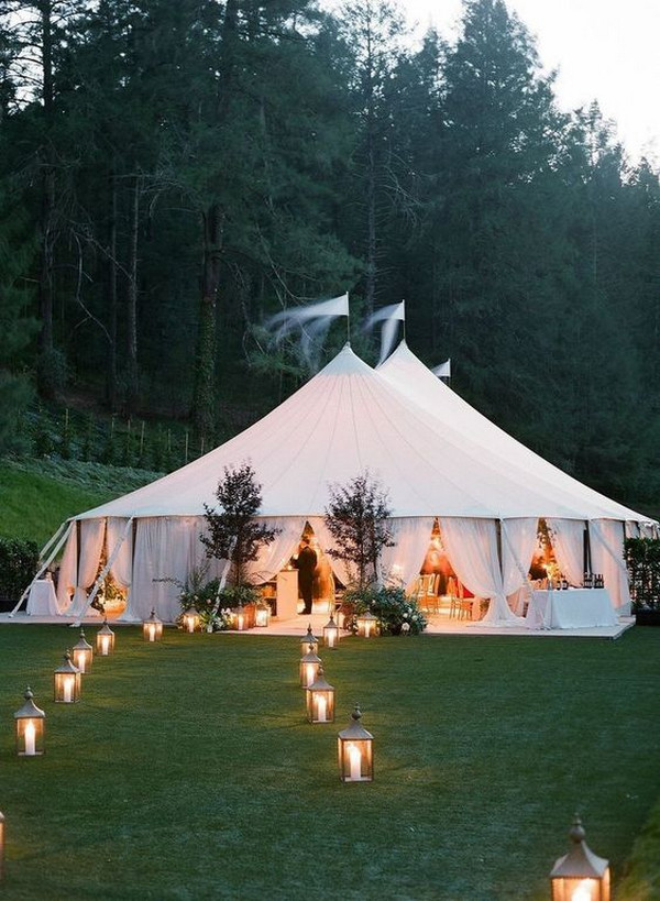 outdoor wedding lighting ideas for tented wedding
