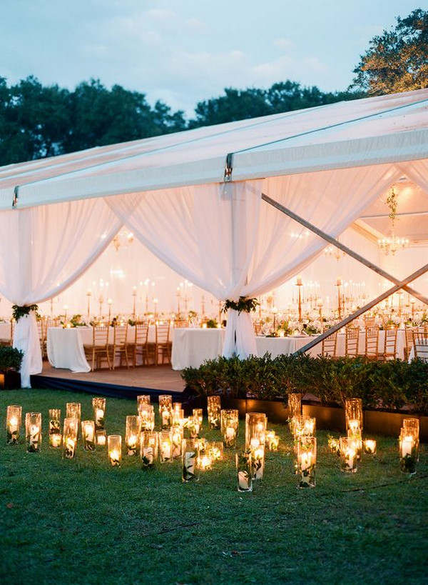 tented wedding decoration ideas with candles and lights
